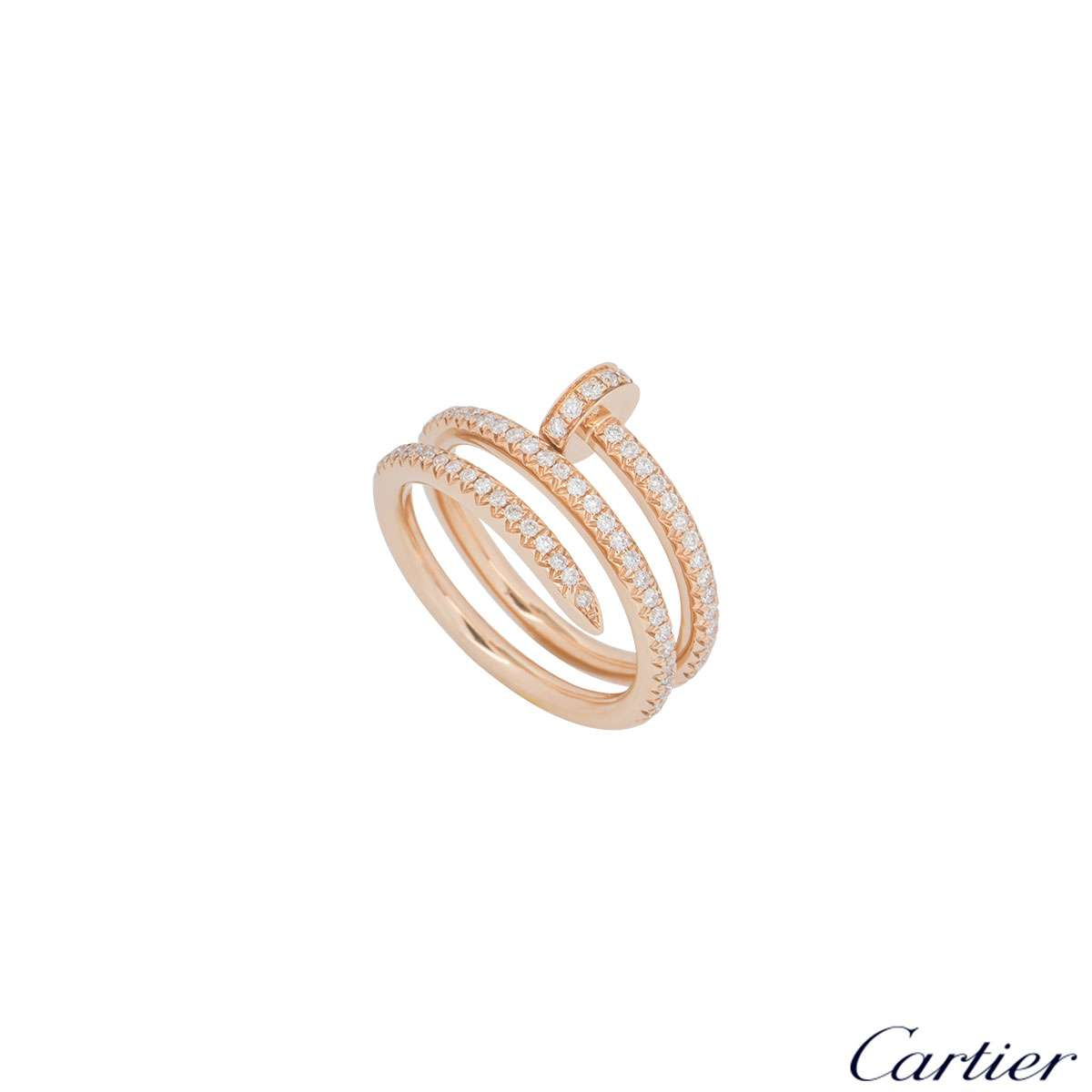 Cartier Rose Gold Full Diamond Juste Un Clou Ring Size 52 B4210952